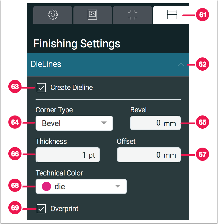 Impose Editor - Finishing Settings - DieLines - 1.7.5