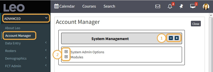 Account Manager/System Management Screen