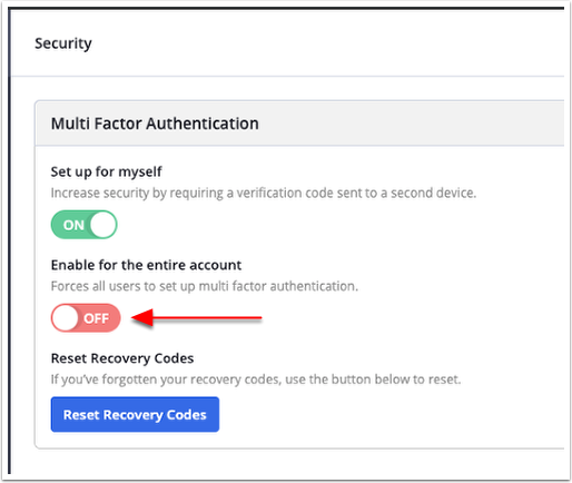 Enable MFA for entire account toggle