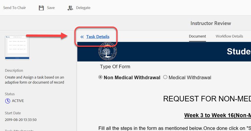 Task Details link