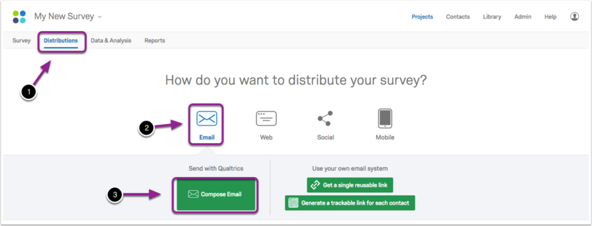 Survey distribution options