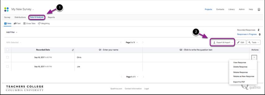 Data and Analysis tab