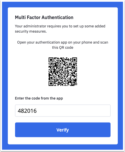Scan QR code and enter verification code