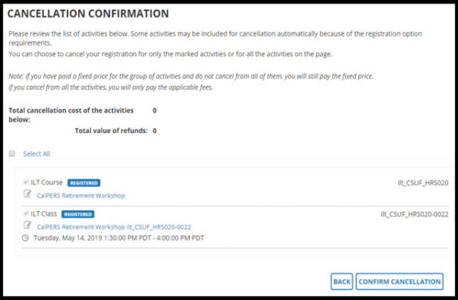Cancellation confirmation page.