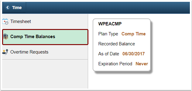Comp Time Balances link
