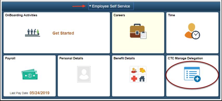 ESS Homepage select Time tile