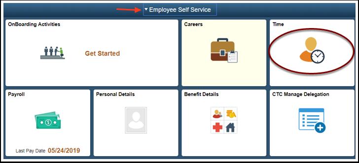 ESS home page select time tile