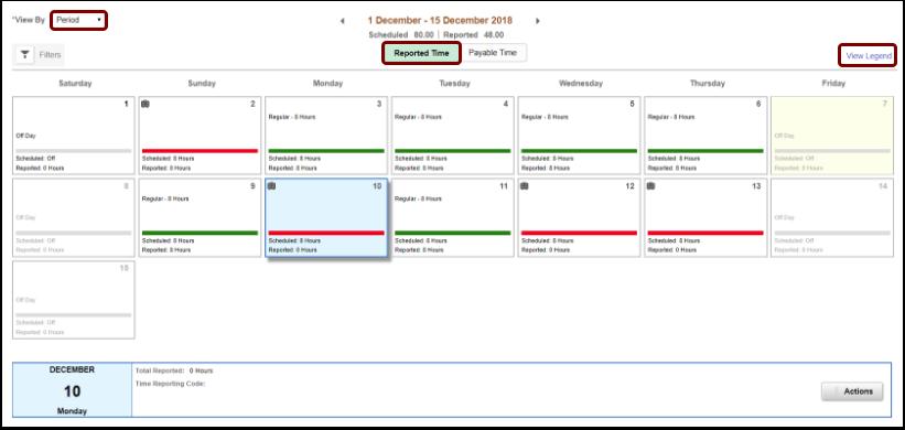 Reported Time calendar