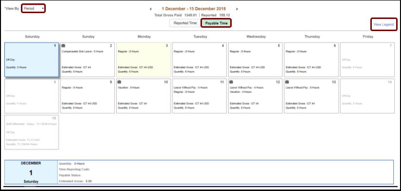 Payable Time calendar