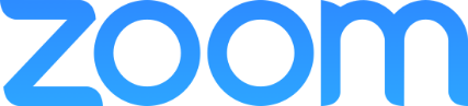 Zoom logo with blue Zoom letters