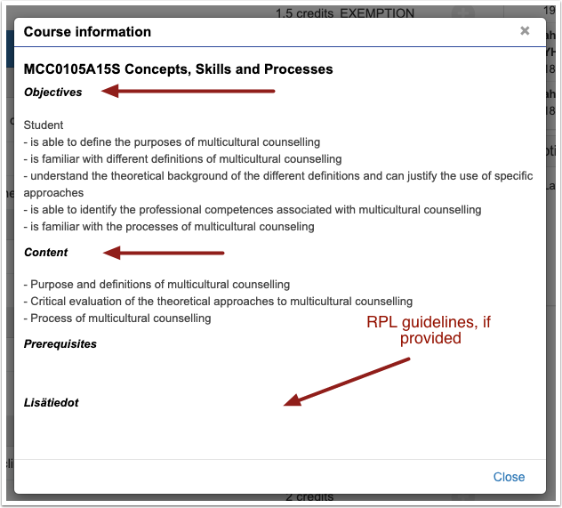 PIC: Study module information