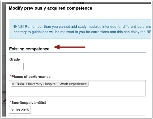 PIC: Details of prior learning for other experience