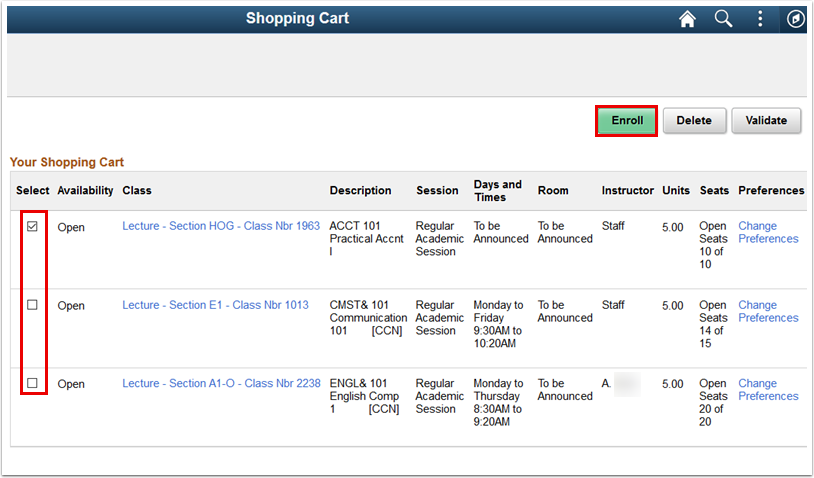 Shoppint Cart page