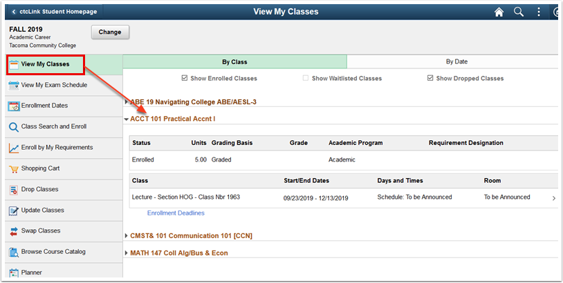 View My Classes page