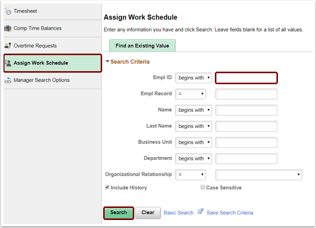 Assign Work Schedule search page