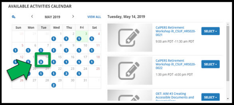 Page showing available activities calendar page. Green arrow pointing to a date in the May 2019 calendar.