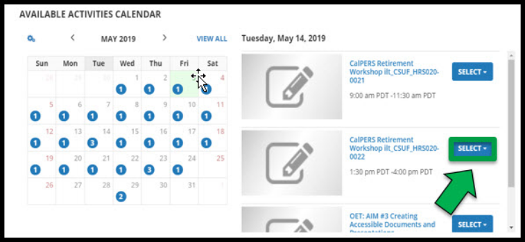 Available activities calendar page.  Green arrow pointing to the Select button for a class on the selected date.