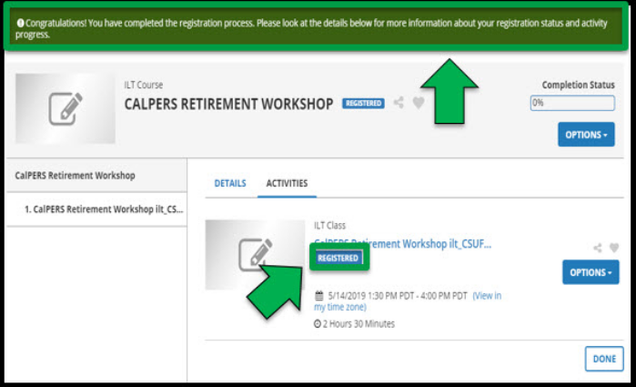 Registration page for the class. Green arrow pointing towards a confirmation message for the completed registration.