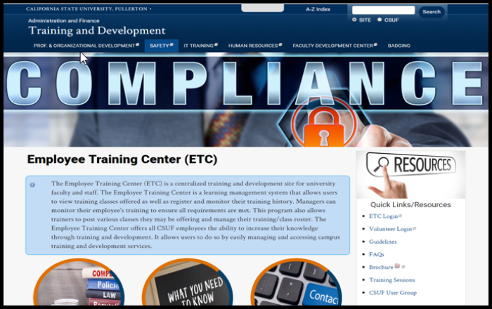 Employee Training Center website/ homepage.