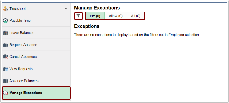 Manage Exceptions page