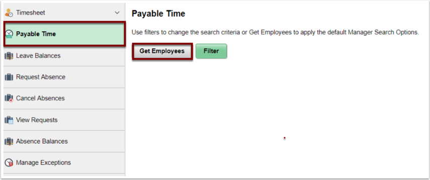 Payable Time page with Get Employees button