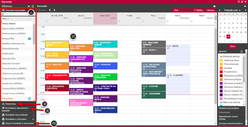 Hlavná obrazovka Kalendára