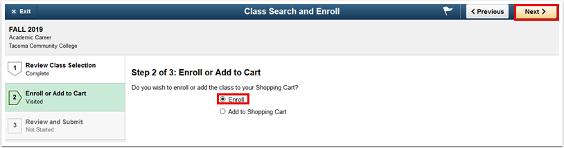 Step 2 or 3 Enroll or Add to Cart page