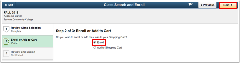 Step 2 of 3 Enroll or Add to Cart page