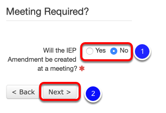IEP Wizard Amendment Meeting Question
