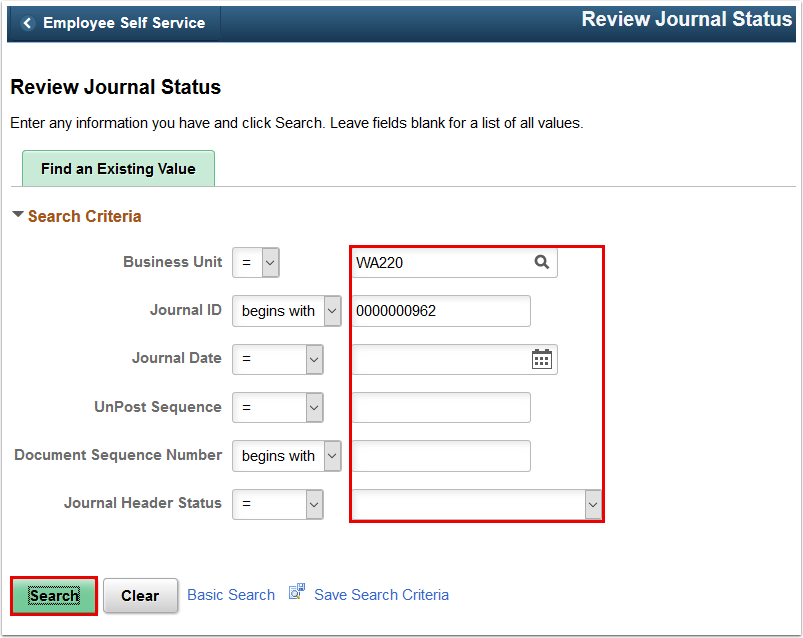Review Journal Status page
