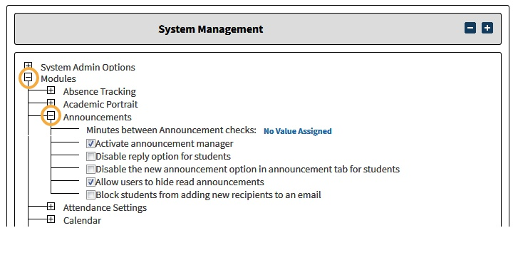 Step 3: Click to expand 'Announcements', then check the box for 'Activate announcement manager'