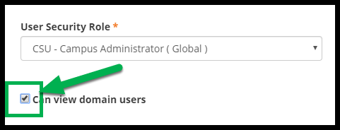 Green arrow pointing to checked box next to Can view domain users.