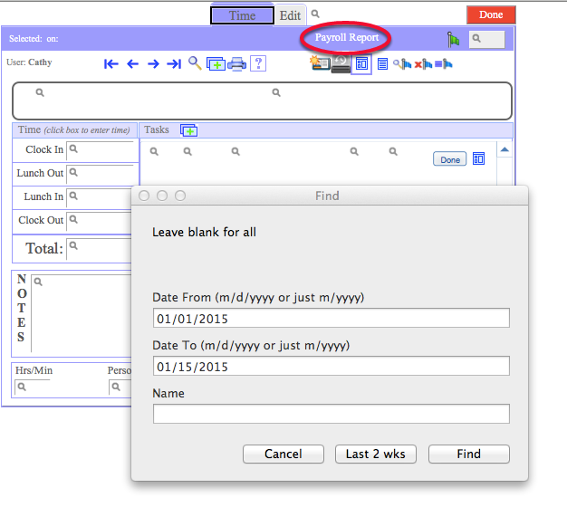"""To run a payroll report, click on """"payroll report"""""""