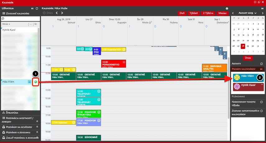 Zobrazenie viacerých kalendárov