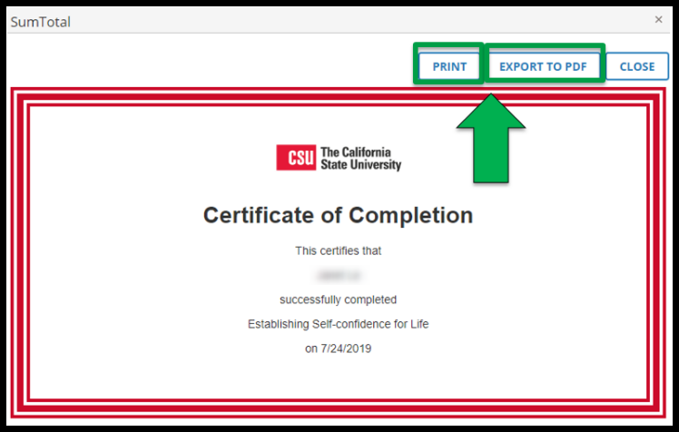 Image of certificate. Green arrow pointing to Print and Export to PDF button.