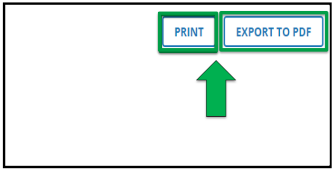 Green arrow pointing to the Print button and Export to PDF button.