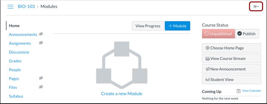 Open the Course Setup Checklist