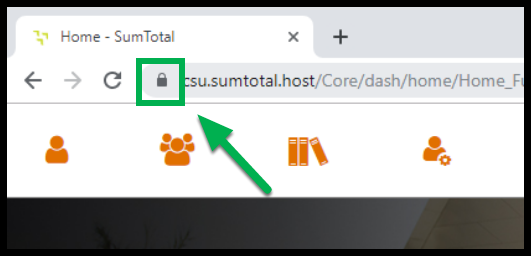 Green arrow pointing to the security icon next to the URL in the website address bar.