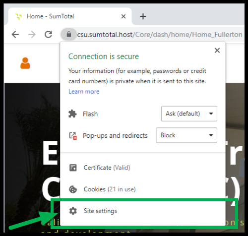 Green arrow pointing to Site Settings.