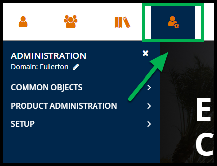 Green arrow pointing to Administration icon.