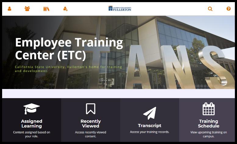 Employee Training Center Dashboard / homepage.