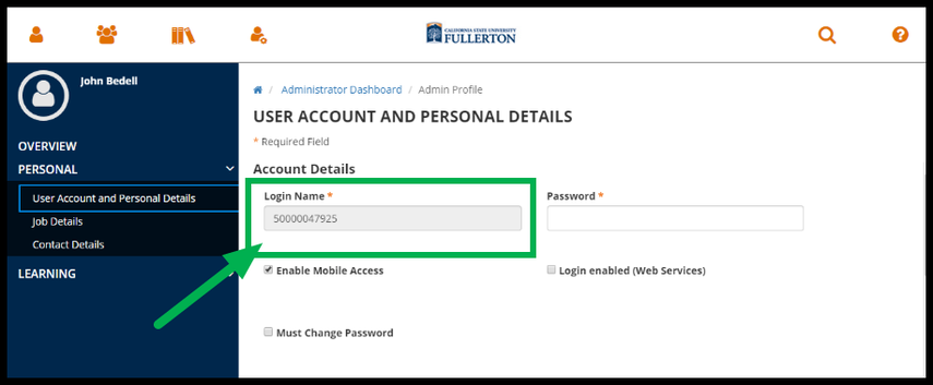 Green arrow pointing to Login Name field.