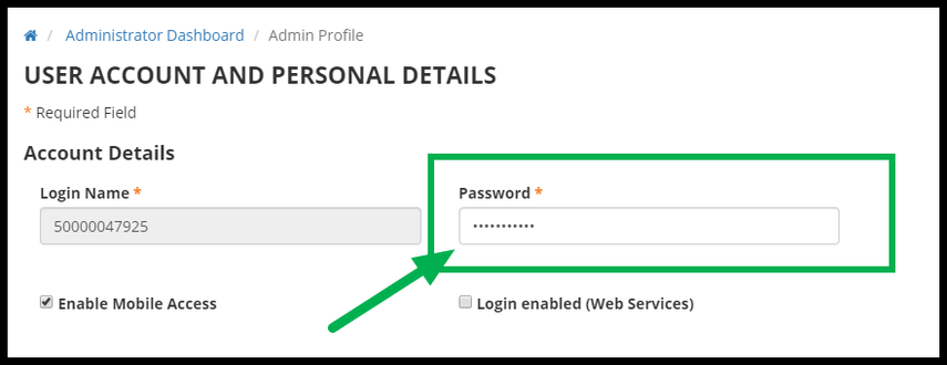 Green arrow pointing to Password field.