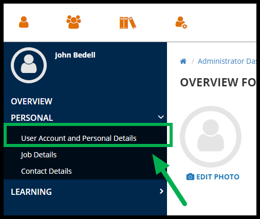 Green arrow pointing to User Account and Personal Details.