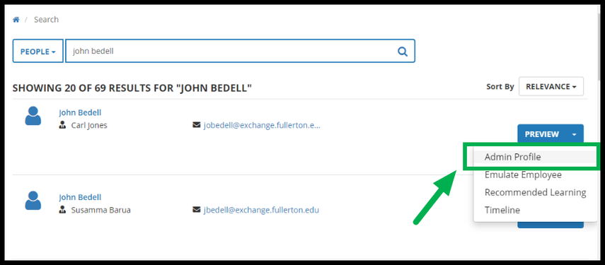 Green arrow pointing to Admin Profile in Preview Dropdown menu.