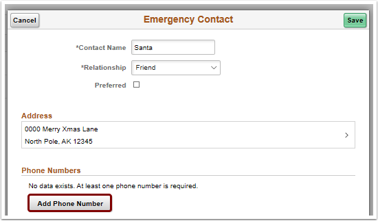 Add phone number button on emergency contact pagelet