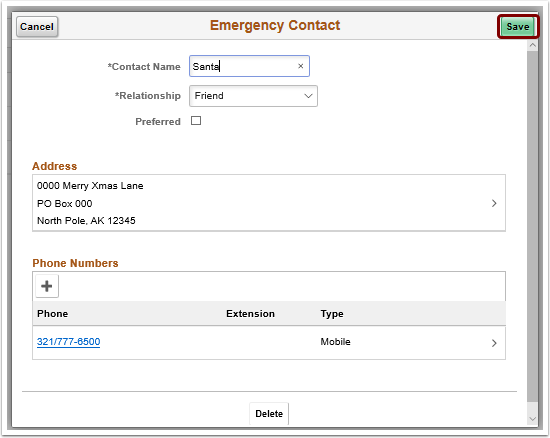 updated emergency contact save