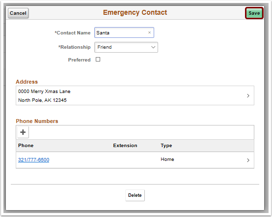 save new emergency contact
