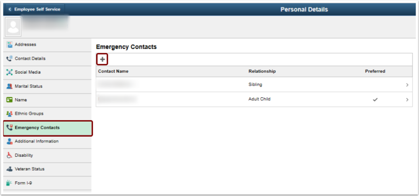 Personal Details page add a new emergency contact