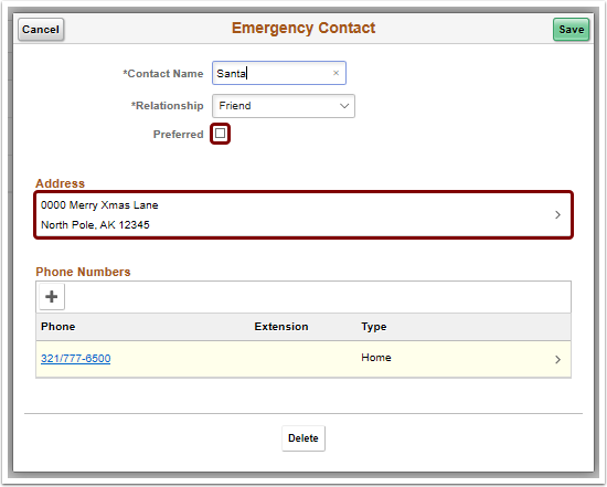 Emergency Contact pagelet update address